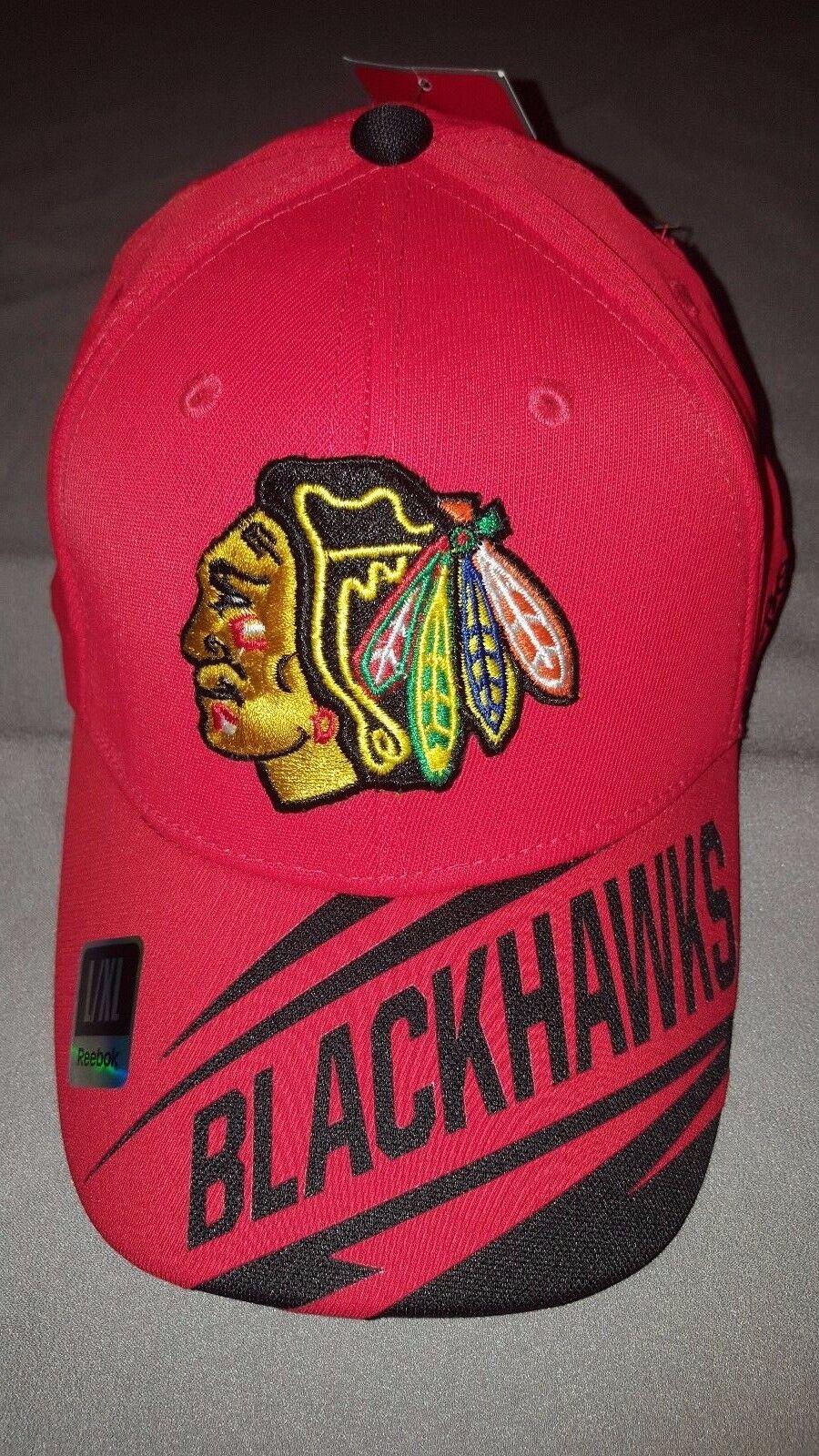 REEBOK NHL CHICAGO L/XL BLACKHAWKS FITMAX STRETCH RED HAT ADULT L/XL CHICAGO LARGE/XLARGE NEW cf2428