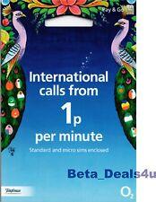 O2 rete SIM Card International Pay As You Go Mobile Telefono Regno Unito su 02 NUOVO