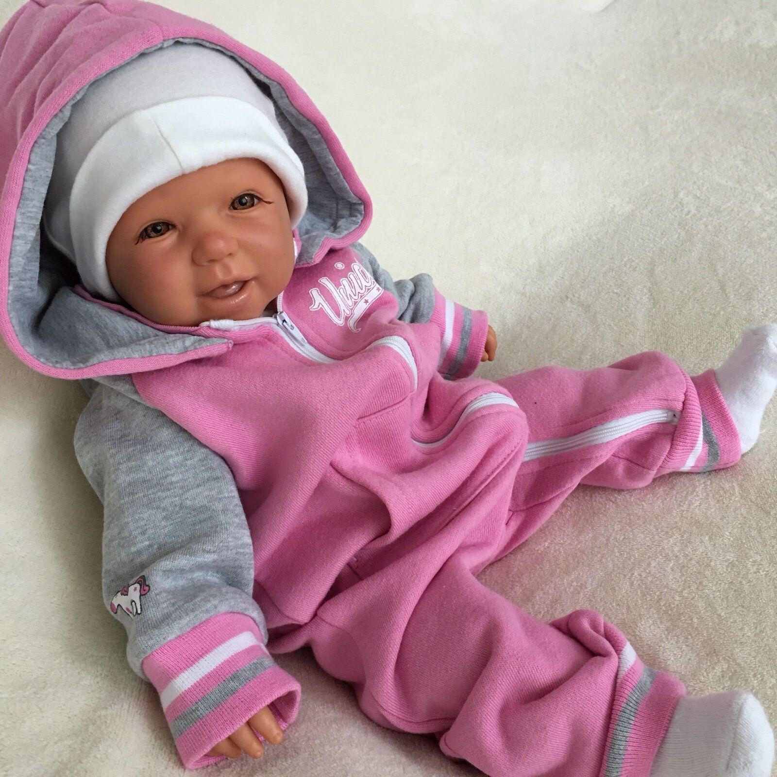 NEU Baby Mädchen Strampler Overall Einteiler mit Kapuze Gr 56 62 68 74 80 86