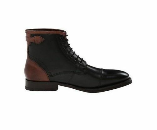 Herren  HANDMADE LEATHER BLACK AND BROWN LACE UP Stiefel CAP TOE HIGH ANKLE Stiefel