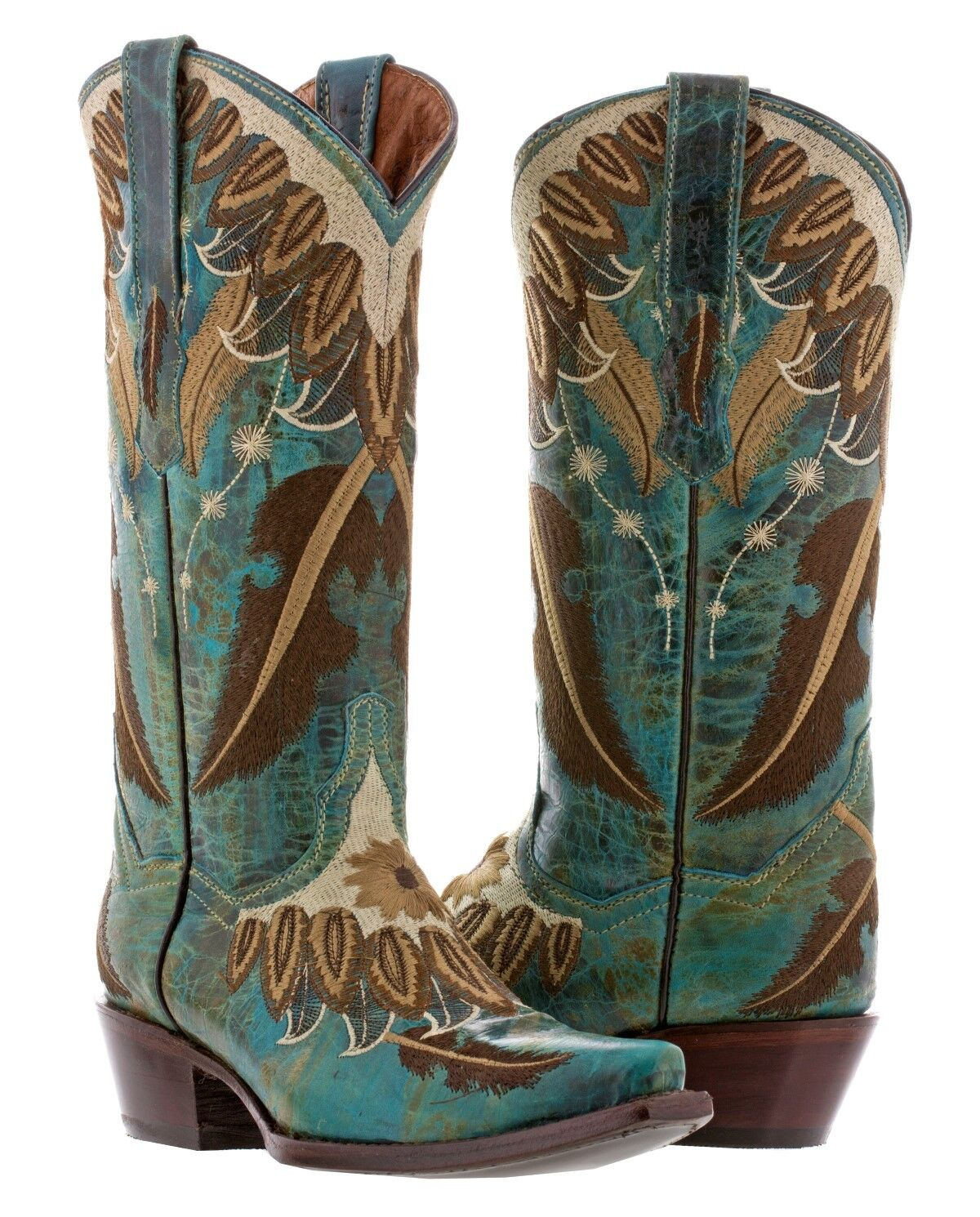 Donna Turquoise Embroidery Feathers Cowgirl Stivali Casual Western Wear Snip Toe