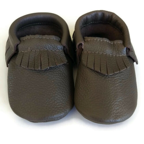 Moccasin real Leather shoes appx 0-18mth Billie slate grey baby toddler footwear