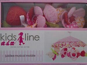 NEW KIDSLINE JUBILEE PINK FLORAL MUSICAL CRIB MOBILE