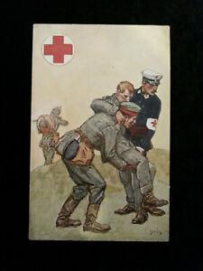 Deutsches-Reich-Offizielle-Feldpost-Karte-1914-Rotes-Kreuz