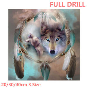 US Full Drill Wolf Dream Catcher 5D Diamond Painting Embroidery Cross Stitch Kit
