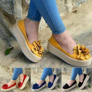 Women-Casual-Flat-Platform-Sneakers-Comfort-Plimsoll-Slip-On-Pump-Loafers-Shoes