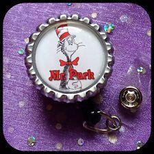 DR. SEUSS PERSONALIZED Name Bottle Cap ID Badge Key Holder Lanyard Work Clip Cat