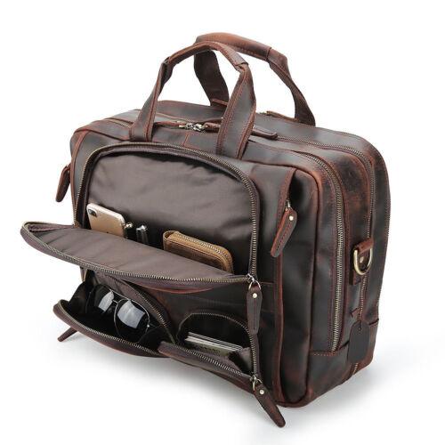 """Vintage Men Leather Travel Briefcase 16/"""" Laptop Overnight Shoulder Bag Satchel"""