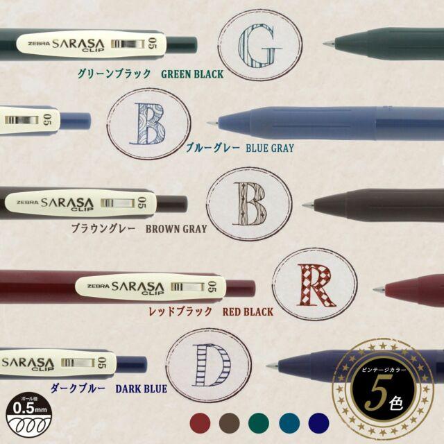 Zebra Sarasa Clip GEL Ink Ballpoint Pen 0.5mm Rubber Grip Vintage 5colors for sale online