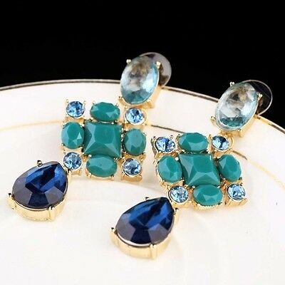 Fashon Jewelry Blue Crystal Rhinestone Flower Pendant Stud Earrings Women New