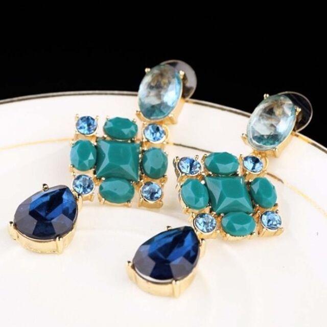 Fashon Jewelry Blue Crystal Rhinestone Flower Pendant Stud Earrings Women New