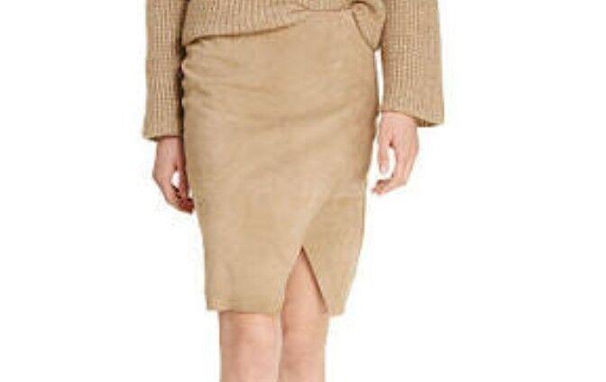 NWT Polo Ralph Lauren Goat Suede Lined Rachel Skirt Beige Size 2  698