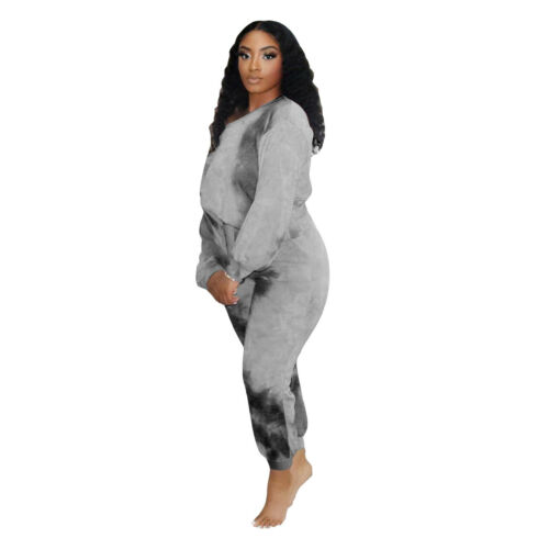 Newest Women Fall/&Winter Long Sleeves Tops Bodycon Tie-dyed Print Jumpsuits 2pcs