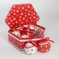 Christmas Tree Decoration - Box of 7 Baubles - Red / White snowflake design