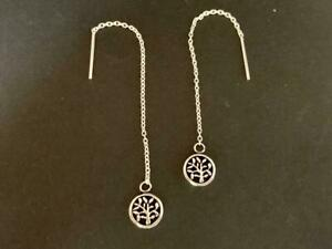 Genuine-925-Sterling-Silver-Tree-of-Life-Disc-Celtic-Wicca-Threader-Earrings