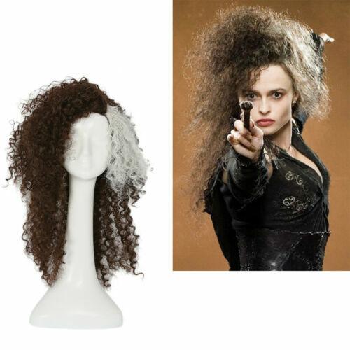 2019 Wig Bellatrix Lestrange Curly Brown Gray Hair Costume