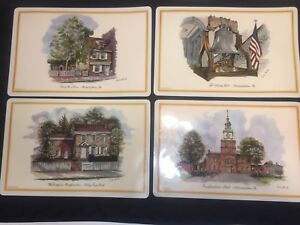 Vintage-70s-Philadelphia-Landmarks-Vinyl-Placemats-Tourist-Set-of-4
