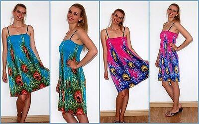 Lady Women Short Summer Beach Stretch Boobtube, Bandeau Printed Strappy Dress Uk