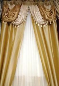 Luxurious-AMORE-Panel-w-attached-valance-5-pc-window-curtain-set-Gold