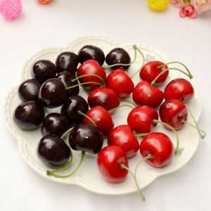 10-Artificial-Fake-Plastic-Cherries-Fruit-Room-Decor-Realistic-Red-Cherry-Bowl