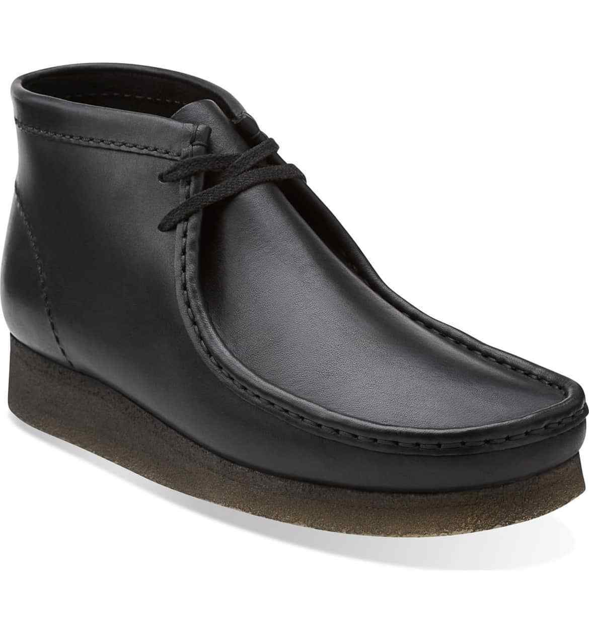 03666-BLK LTHR CLARKS WALLABEE BOOT