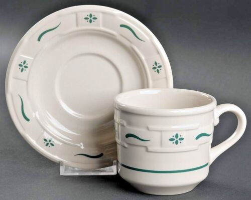 Longaberger Woven Traditions Heritage Green Flat Cup with Saucer