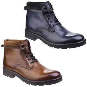 Base-London-Panzer-gewaschen-Leder-Schnuerschuhe-Stifelette-Works-Look-Stiefel