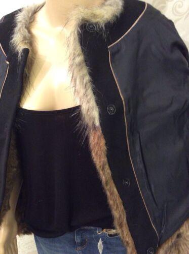 NUOVO M/&S Per una pelliccia sintetica Cappotto Giacca Marrone Mix Taglia 16