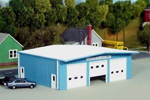 PIKESTUFF-PKS19-HO-Fire-Station-Firehouse-Model-Railroad-Kit-Blue-FREE-SHIP
