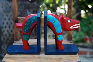 Handcrafted Unique Hand Painted Jackal Shape Wooden Bookends Collectible
