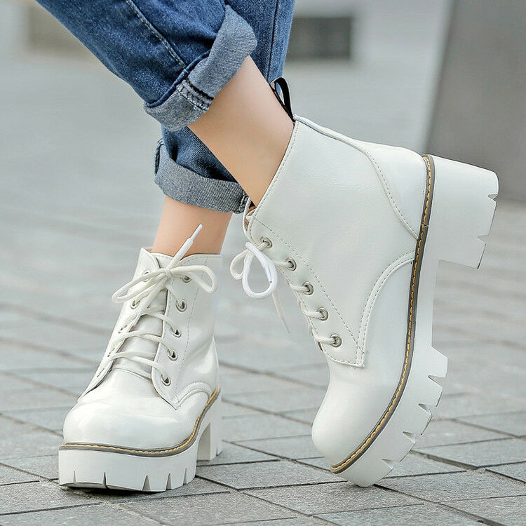 Women Military Motorcycle Combat Boots Block Heels Platform Lace up Casual shoes