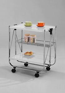 servierwagen butler k chenwagen wei chrom faltbar und auf rollen ebay. Black Bedroom Furniture Sets. Home Design Ideas