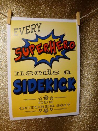 EVERY SUPERHERO NEEDS SIDEKICK colourful PREGNANCY ANNOUNCEMENT print photo prop