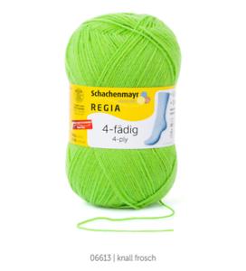 Regia 4-fädig 100g Sockenwolle maschinenwaschbar Farbe 06613 knall frosch