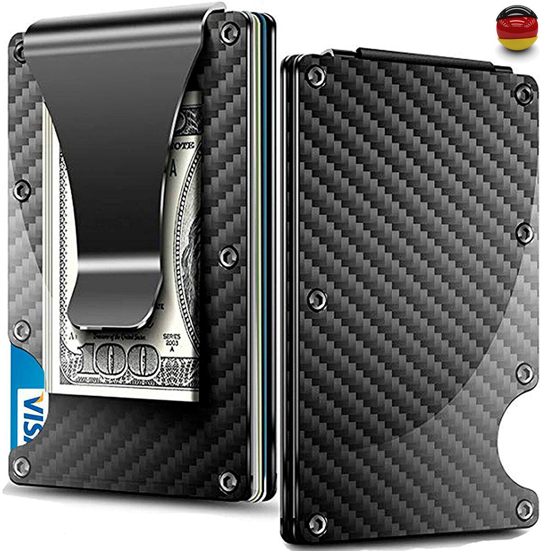 Carbon Slim Blocker Metall Kreditkartenetui RFID Kredit-Karten Geldklammer Clip