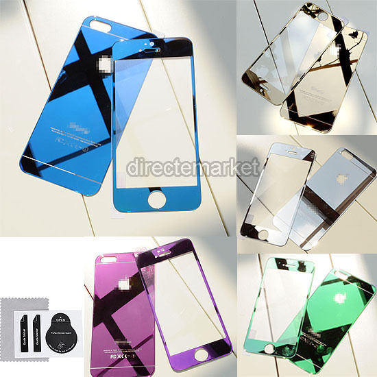 Colour Front+Back Mirror Tempered Glass Screen Film Cover Skin For iPhone 5 5S