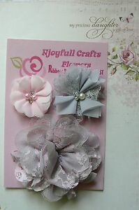 HANDMADE-3-Mixed-Flowers-PINK-amp-GREY-Organza-Lace-45-70-100mm-Njoyfull-CraftsHT
