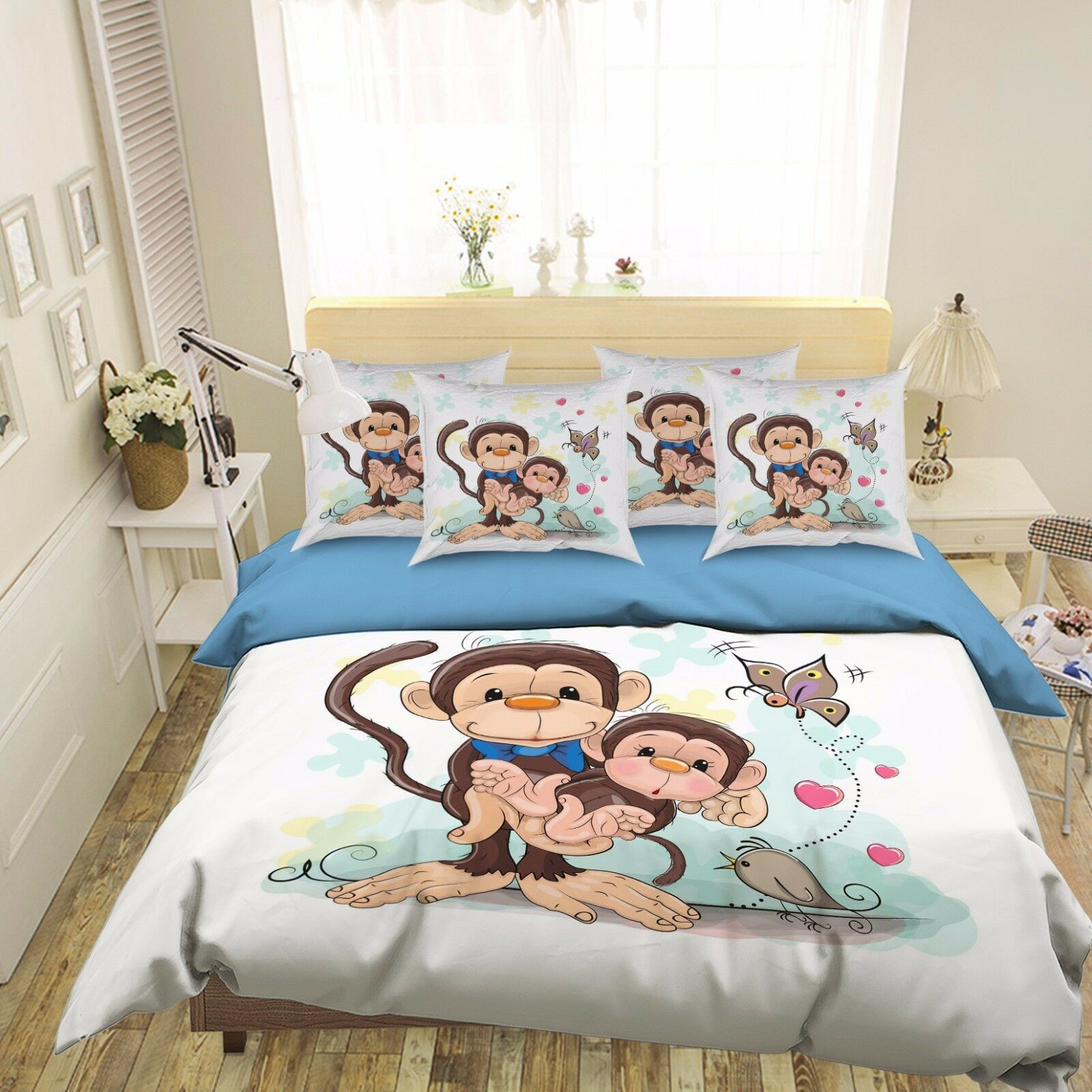 3D Hand Drawn Monkey 512 Bed Pillowcases Quilt Duvet Cover Set Single Queen CA