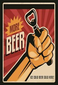 More-Beer-Beer-Ice-Cold-Sold-Here-Tin-Sign-Shield-Tin-Sign-20-x-30-cm-CC0944