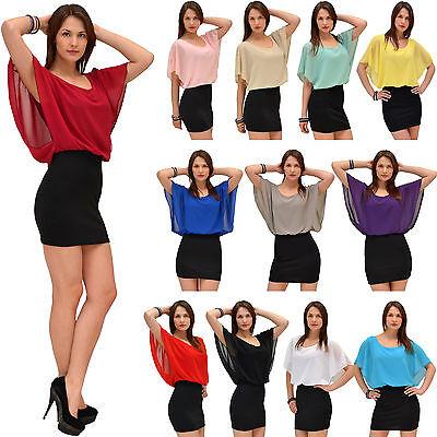 Damen Bluse Chiffon Tunika Minikleid 2 In 1 Oberteil Fledermausärmel 15 Farben Chinesische Aromen Besitzen