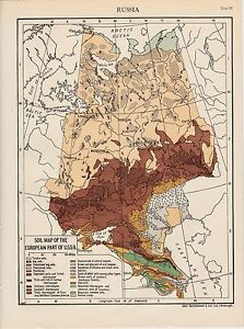 Russia. Soil Map of the European Part of U.SS.R. Scarce Map circa ...