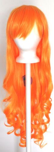 29/'/' Long Curly w// Long Bangs Orange Sherbert Cosplay Wig NEW