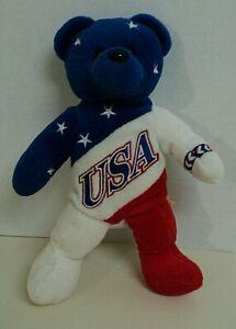 "USA Team Bears Authentic ""God Bless America"" Beanie Baby Bear 8"" ~ NEW AUCT#4122"