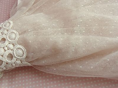 1 yd Romantic Soft Tulle Net Lace Fabric Beige Pink Dots Wedding  Craft155cm WD