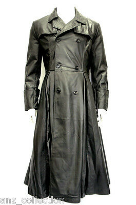 Morpheus Mens Gents Black Matrix Movie Over coat Napa Leather Long Jacket Coat