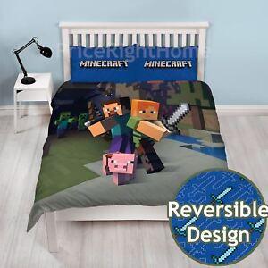 Minecraft-Set-Housse-de-Couette-Double-Neuf-Officiel-Reversible