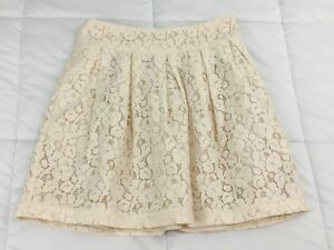 FOREVER-21-Cream-Beige-Floral-Lace-Lined-Pockets-Mini-Skirt-Size-XS-Extra-Small