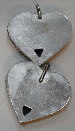 Beads India Silver Heart Pendants Vintage 44mm