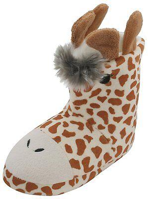 Jirafa Peluche Polar Chicas 3D Divertido Novedad Zapatillas Botas Disponibles en 4 tamaños Reino Unido