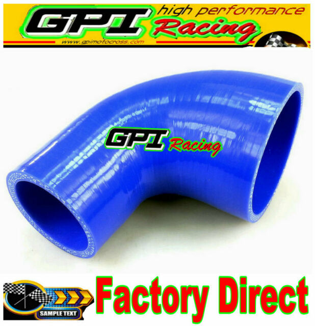 """2.5"""" to 2.75"""" 64mm to 70mm Silicone 90 Degree Elbow Reducer Pipe Hose BLUE"""